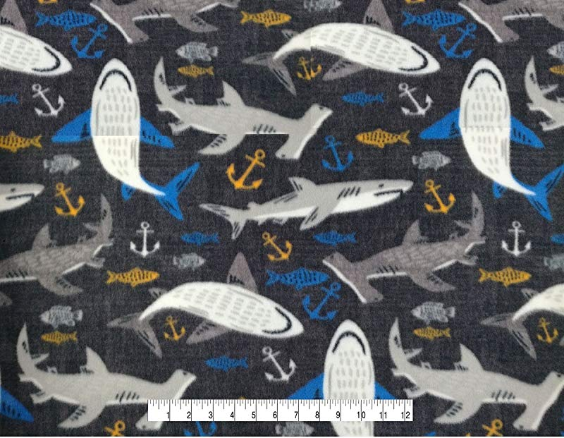 SHARKS Fleece Baby Blanket Satin Edge BLUE