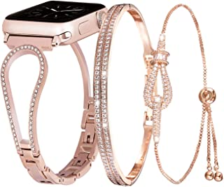 Inno-Huntz Bling Compatible with Apple Watch Bracelet Set 40mm 38mm Stainless Steel Band for Series 4 3 2 Rhinestone Dressy Iwatch Women Girl Strap Rose Gold