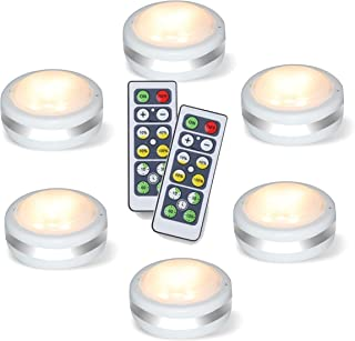 Luz Armario Led con Mando, Mini Luces Led Pilas, Luz Led Adhesiva, Lamparas Pared sin Cable, Paquete de 6, Blanca Cálida