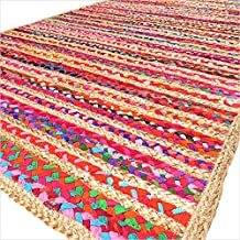 EYES OF INDIA - 4 X 6 ft Colorful Woven Jute Chindi Braided Area Decorative Rag Rug Indian Bohemian Accent Handmade Handwoven