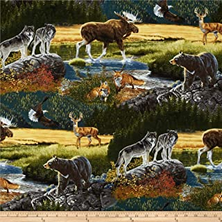 Robert Kaufman Bringing Home Wildlife Nature Fabric by The Yard, Mountain