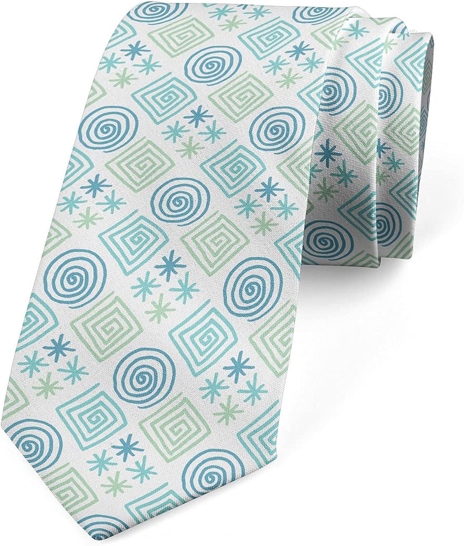 Ambesonne Necktie, Pastel Circle Square Swirl, 3.7