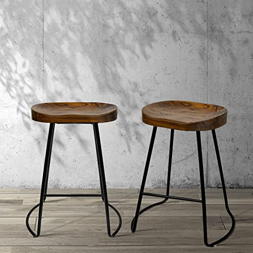 Artiss 2 Pcs Bar Stools 65cm Height Wooden Tractor Seat Metal Counter Stools Industrial Bar Chairs for Home Kitchen D...