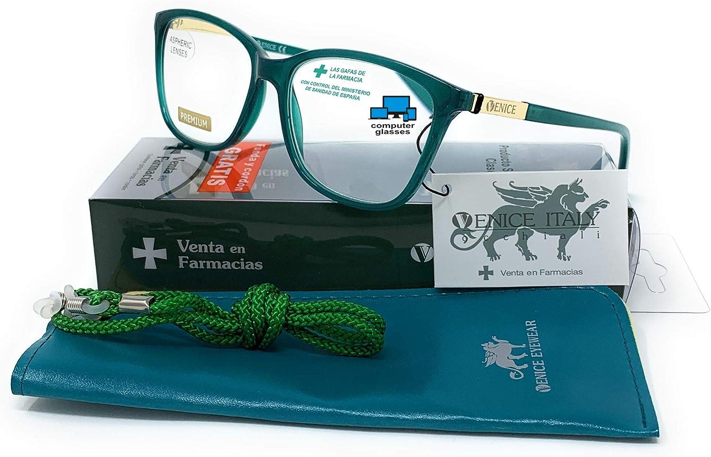 New model 2021 Gafas de lectura con filtro bloqueo de luz azul para gaming, ordenador, móvil. Anti fatiga, presbicia, vista cansada, Mujer Diseño en Colores. VENICE Smart (Verde, 1,00)