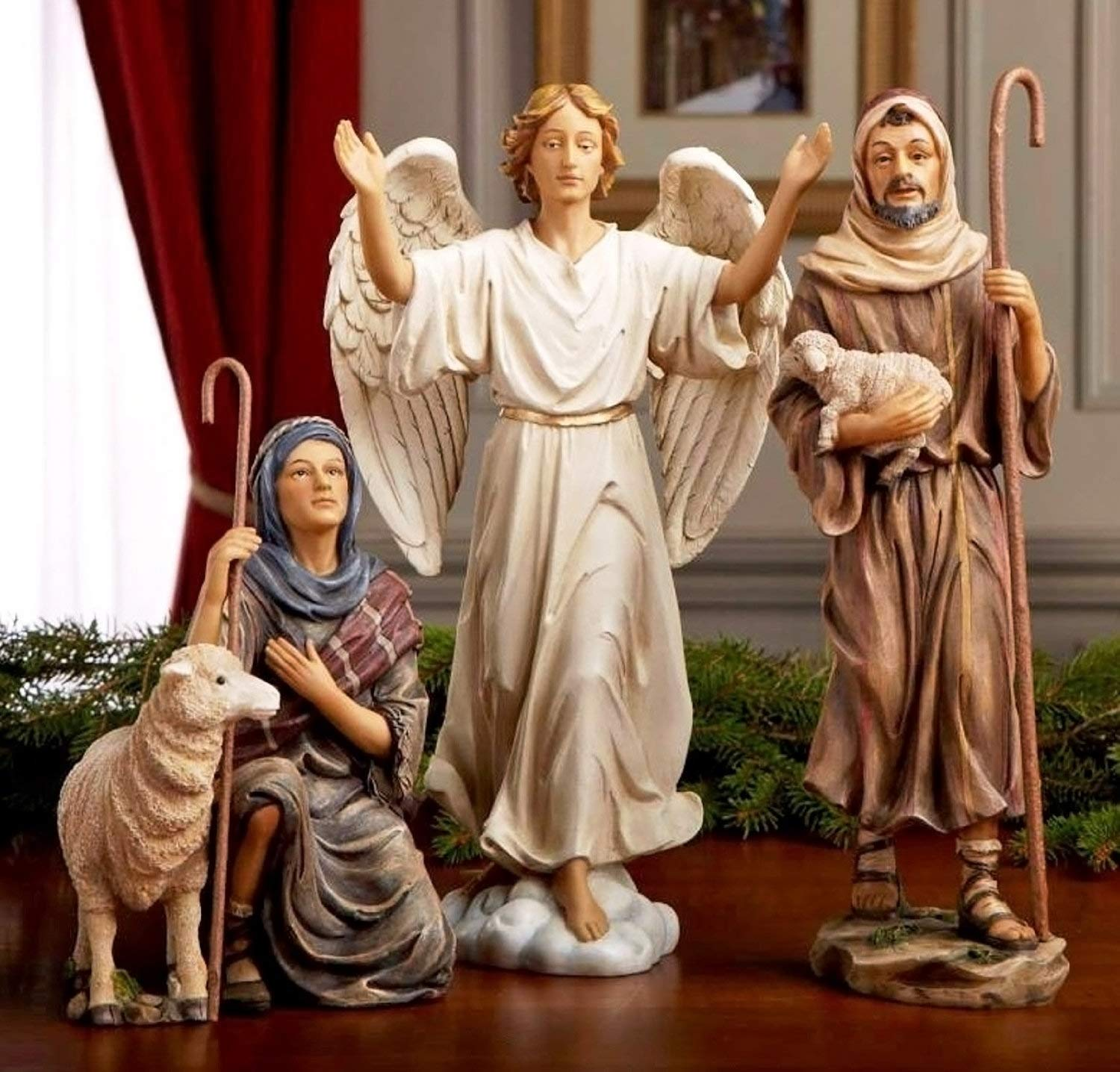 Set of 14 Christmas 14 Inch Real Life Nativity Set Includes People and Animals