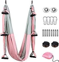 Tumax Yoga Swing Set, Aerial Yoga Hangmat Trapeze/Sling/Inversion Tool voor thuis of sportschool Fitness, verhoogde flexib...