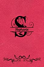 Split Letter Personalized Journal - Stephanie: Elegant Flourish Capital Letter on Red Leather Look Background