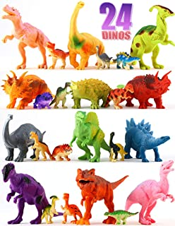 Dinosaur Toys Set for Boys & Girls - 12 Large & 12 Small Toy Dinosaurs + Play Mat - BPA-Free Plastic Dinosaurs for School, Playtime, Party Supplies - Plastic Dinosaur Figures for Kids 3+