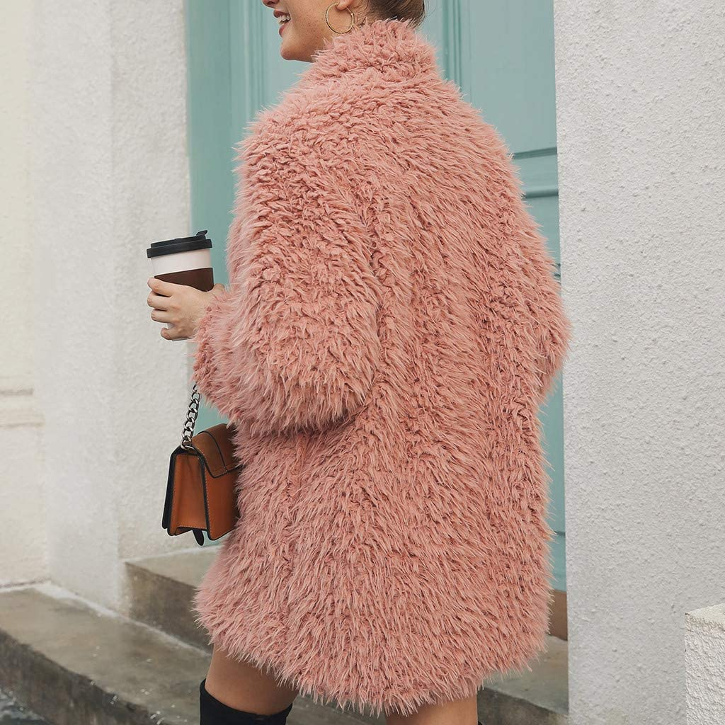 Winterjacke Kunstpelz Mantel Damen Winter Elegant Cardigan mit Haken,Kanpola BeiläUfige Warme PlüSchjacke 10-rosa