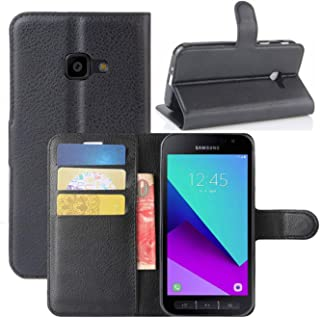 HualuBro Samsung Galaxy Xcover 4s Hülle, Galaxy Xcover 4 Hülle, Premium PU Leder Stoßfest Klapphülle Schutzhülle HandyHülle Handytasche Flip Case Cover für Galaxy Xcover 4s Tasche (Schwarz)