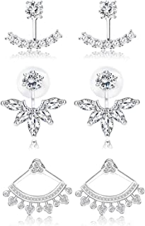 3 Pairs 18K White Gold Plated Clear Crystal Leaf Feather Stud Earrings