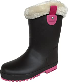 長靴 雨靴 防水 防寒 スパイク ウレタン ボア レインシューズ 通学 2色 ガールズ (24.0 cm, ブラウン)