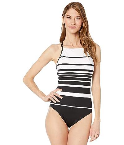 LAUREN Ralph Lauren Gradient Stripe Shaping High Neck Mio One-Piece (Black/White) Women