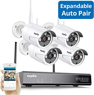 WiFi Security Camera System, Strong Signal Version, SANNCE 1080P 8CH NVR and 4Pcs 2MP Indoor Outdoor Surveillance Cameras with Night Vision,IP66Weatherproof Motion Detection, Remote Monitoring,NO HDD