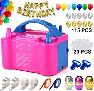 160 Pcs Balloon Pump KINBON Electric Portable Dual Nozzle Electric air Balloon Blower Pump, Electric Balloon Inflator for ...
