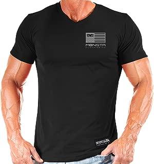 Monsta Clothing Co. Men's Bodybuilding Workout (MC-Crest) Fitness Gym V-Neck