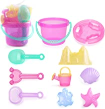 LotFancy Beach Toys Set, Sand Toys for Toddlers, 10 Piece Beach Set Bucket with Castle Mold, Sand Sifter Cover, Star Shell Mold, Rake, Watering Can, Shovel Tool Kit for Kids Outdoor Toys, Pink