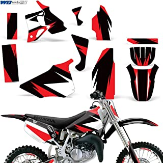 Wholesale Decals Honda CR80 1996-2002 Full Custom Kit with Rim Trim and Number Plates - Bold Race Design