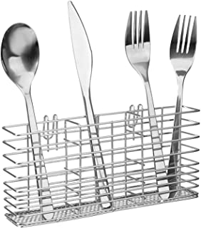 SANNO Stainless Steel Cutlery Utensil Holder Silverware Organizer Rack with Hooks Removable Drying Rack Silverware Holder ...