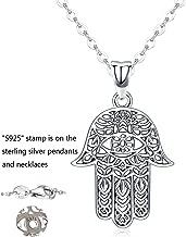 Hamsa Hand Necklace,Colgante de plata esterlina Joyas para hombres, Sagrado Vintage Hand of Fatima Evil Eye Colgante con joyería fina Regalo Ruta de símbolos de las mujeres Éxito Amistad Lotus Charm