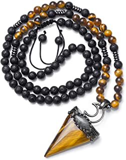 Top Plaza Natural Stone Healing Crystal Triangle Pointed Gemstone Pendant Necklace Crescent Moon Jewelry Adjustable Lava Rock Beads Necklaces for Women Men