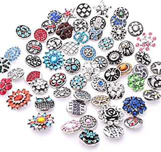 Ginooars 10PCs Mixed Style Rhinestones Snaps Buttons 18/20mm for Interchangeable Snaps Jewelry