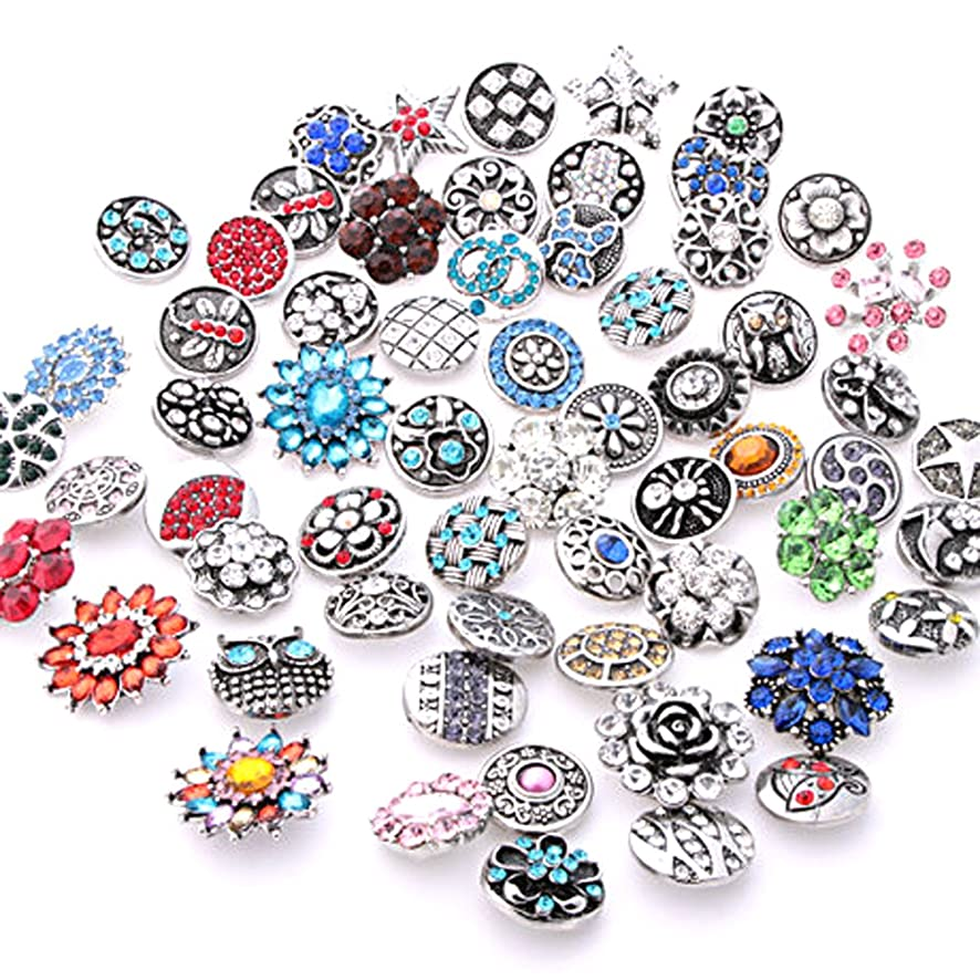 Ginooars 20PCs Mixed Style Rhinestones Snaps Buttons 18mm for Interchangeable Snaps Jewelry Making