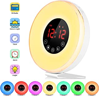 FKANT Wake Up Light, Nature Light Sunrise Simulation Alarm Clock, Snooze Function 7 Colors Atmosphere Lamp, 6 Natural Sounds and FM Radio for Kids Adults Bedrooms(6639)