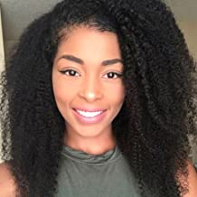 BLUPLE Afro Kinky Curly 4B 4C 360 Lace Frontal Wig with Pre Plucked Natural Hairline Thick Brazilian Human Hair Full Wigs for Black Women with Baby Hair (16 Inch, Afro Kinky Curly 4B 4C)