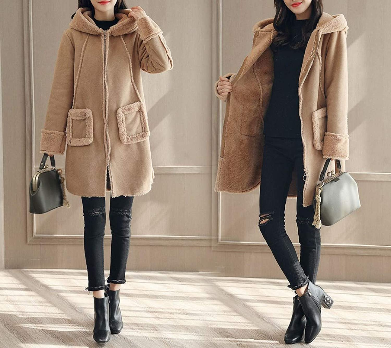 Coat Jacket, Woolen Coat, Autumn and Winter Hooded Thin Thick, Female Long Coat, Coat PLLP