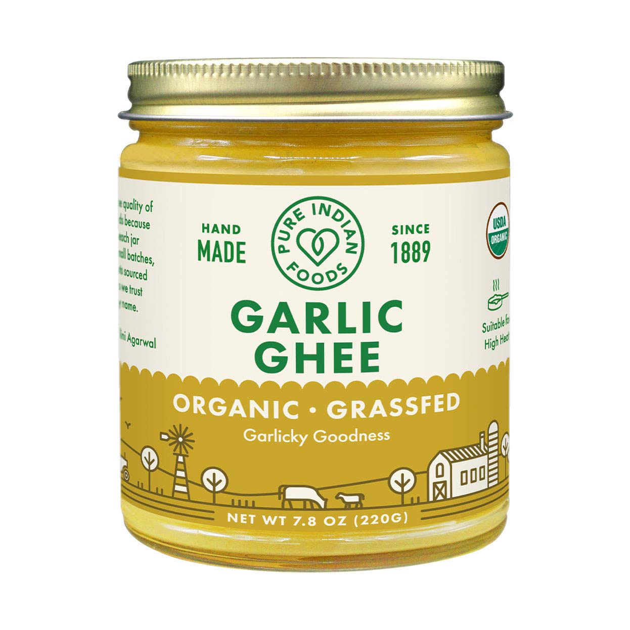 Organic Grassfed Garlic Charlotte Mall Ghee - by Pure oz Foods 7.8 Cla 2021 spring and summer new Indian