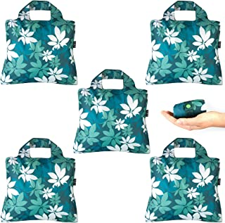 Reusable Grocery Bags- Pack of 5 Botanica Envirosax Foldable Quality Shopping Tote Bag, Eco-Friendly Polyester, Waterproo...