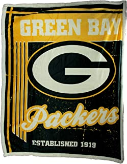 """Officially Licensed NFL """"Old School"""" Mink Sherpa Throw Blanket, 50"""" x 60"""", Multi Color"""