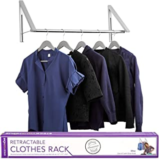 Stock Your Home Retractable Clothes Rack - Wall Mounted Folding Clothes Hanger Drying Rack for Laundry Room Closet Storage Organization, Aluminum, Easy Installation, 2 Racks with Rod (Silver)