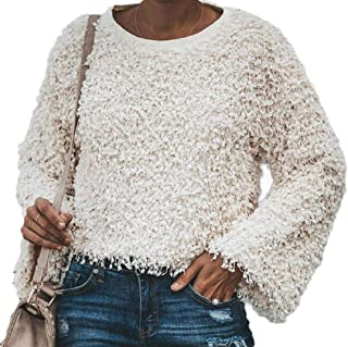 Womens Long Sleeve Tassel Shaggy Casual Pullover Round Neck Warm Loose Crop Top Sweatshirt