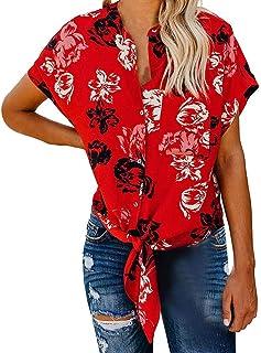 comprar comparacion VEMOW Blusas Mujer Camisetas Tops Botón de Manga Corta para Mujer Corbata Nudo Imprimir Tops Camisa de Verano Blusas