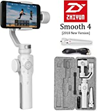 Zhiyun Smooth 4 3-Axis Handheld Gimbal Stabilizer, Upgraded Phone Camera Video Tripod w/Focus Pull&Zoom Vertigo Shot for iPhone X/8 Plus/7/SE Samsung Galaxy S9+/S8/S7/S6 Huawei etc Smartphones(White)