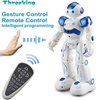 Threeking Smart Robot Toys Gesture Control Remote Control Robot JJRC Robot Gift for Boys Girls Kids Companion Game Fun Learning Music Dance Rechargeable Rc Robot Kit Male Voice