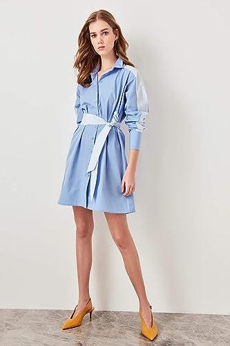 GPZLYQ Nouvelle Mode élégant Slim Fit Haute qualité Décontracté Bleu Robe ceinturée 19OA0010