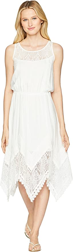 Sleeveless Dress with Lace Front Shoulder