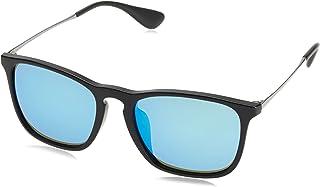 راي بان نظارة شمسية بتصميم مربع للرجال، ازرق، RB4187F 601-5554