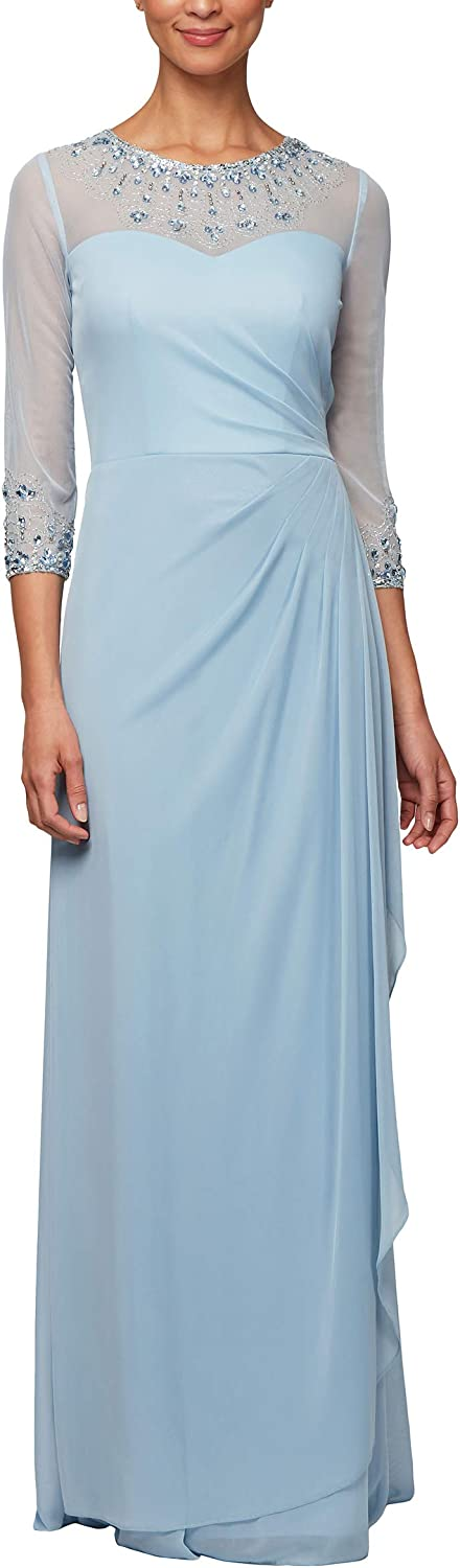 Alex Evenings Womens 3 4 Sleeve Gown with Beaded Illusion Neckline Dress (Petite and Regular Sizes)