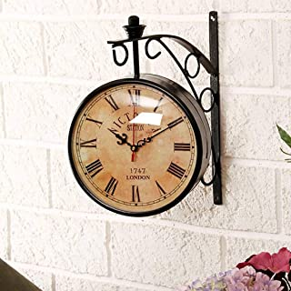 EFINITO 12 Inch Dial Vintage Antique Black Station Double Sided Metal Wall Clock (Multicolour)