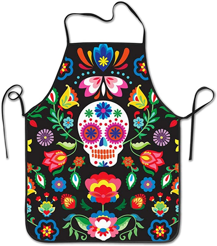 Cilouebghg Kitchen Apron Mexican Sugar Skulls Day Of The Dead Flowers Bib Aprons Women Men Professional Chef Aprons With Extra Long Ties Waterdrop Resistant Waiter Hostess Apron For Holidays Grill