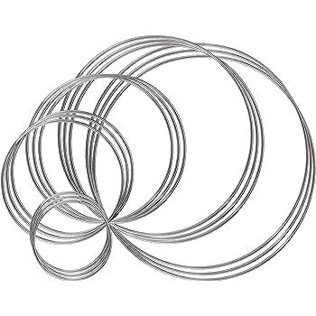Amazon.com: Benvo Metal Rings Hoops 15 Pieces Steel Craft Silver ...