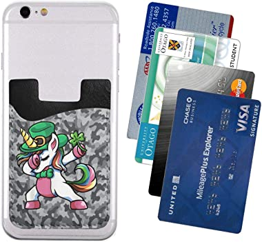 Camo Greydabbing Unicorn St Patricks Day Leprechaun PU Leather Business Id Card Package RFID Credit Card Holder Clip Sleeve W