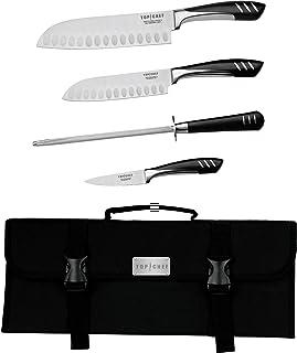 طقم سكاكين أساسي من Top Chef by Master Cutlery مكون من 5 قطع مع حقيبة حمل من النايلون