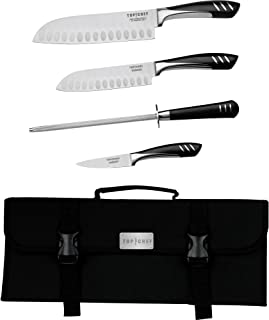 Top Chef by Master Cutlery 5-Piece Chef Basic Knife Set with Nylon Carrying Case