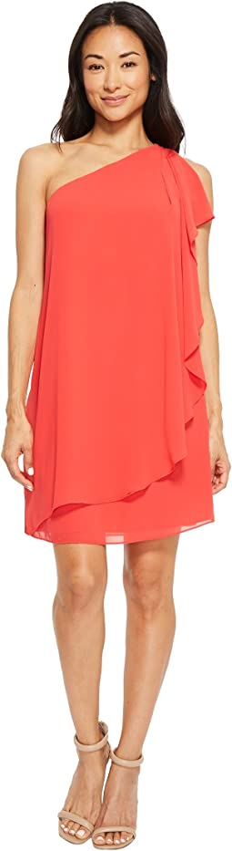 One Shoulder Chiffon Shift Dress with Ruffles