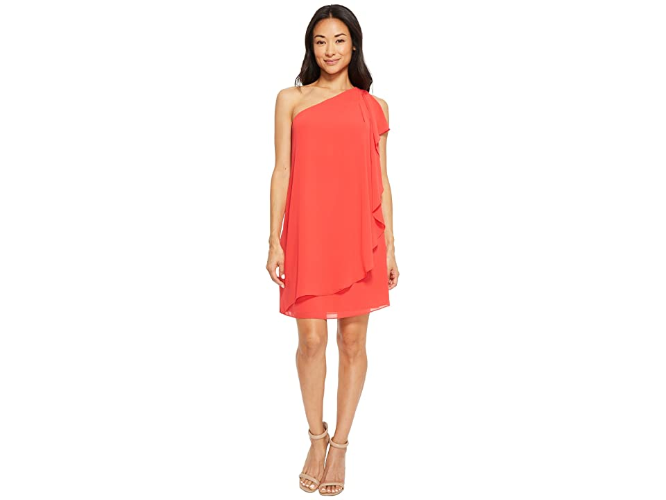 Vince Camuto One Shoulder Chiffon Shift Dress with Ruffles (Poppy) Women